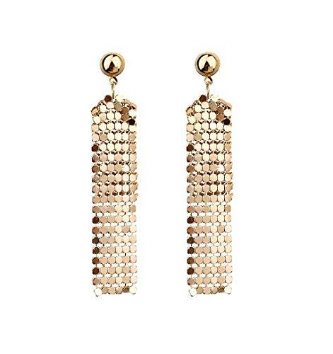 Mesh Long Drop Dangle Earrings Bohemian Copper Tassel Fringe Earrings Statement Sequin Earrings for Women Girls-gold - Gold Mesh Earrings