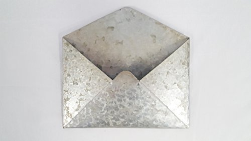 Galvanized Metal Wall Mounted Hanging Envelope Decor- Rustic Vintage Style Decorative Organizer Holder | Distressed Antique Silver Tin Color | Unique Retro Pocket Mail Holder For Your Home Or (Mail Envelope)