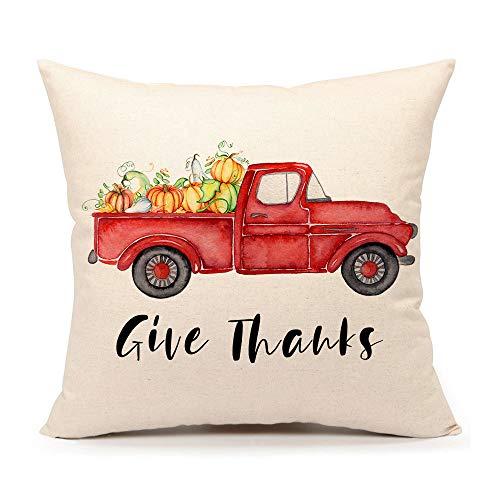 4TH Emotion Give Thanks Fall Pumpkin Truck Throw Pillow Cover Farmhouse Autumn Cushion Case for Sofa Couch 18x18 Inches Cotton Linen
