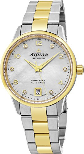 Alpina Comtesse Automatic Ladies Two Tone 34mm Mother of Pearl Diamond Swiss Watch AL-525APWD3C3B (Date Halloween Started)