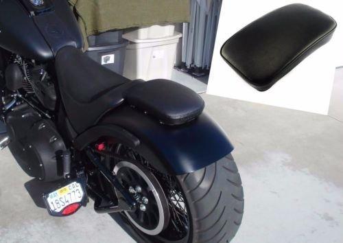 Black Rectangular Pillion Passenger Pad Seat 8 Suction Cup For Harley Chopper Bobber Custom Motorcycle - Custom Harley Chopper