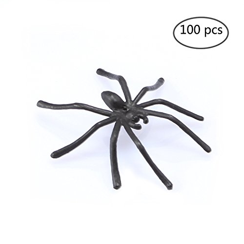 FunLavie 100PCS Plastic Spiders Realistic Bugs Scary Creepy Rubber Prank Gag Gifts for Halloween Decorations -