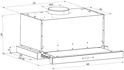 Klarstein Vinea - Campana extractora de bajo mueble, Vidrio de seguridad, Extraíble, 610 m³/h máx. extracción humo, iluminación, Filtro de grasa, Clase Energética A, 60 cm ancho, Negro: Amazon.es: Hogar