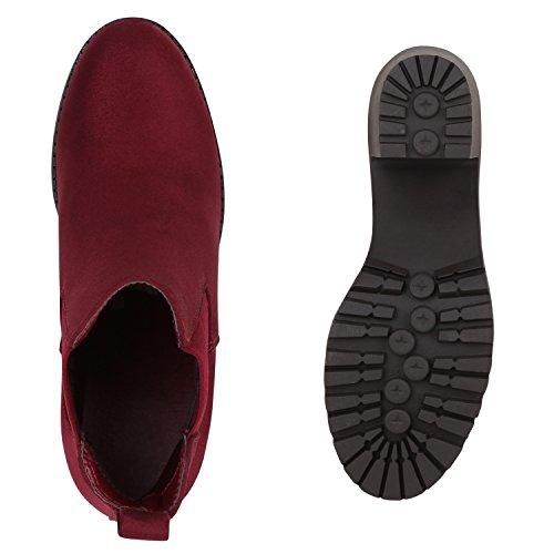 Stiefelparadies Damen Stiefeletten Chelsea Boots mit Blockabsatz Profilsohle Flandell Burgund
