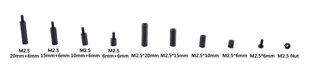 HVAZI 240pcs M2.5 Nylon Hex Spacer Standoffs Screws Nuts Assortment Kit;Male-Female Black