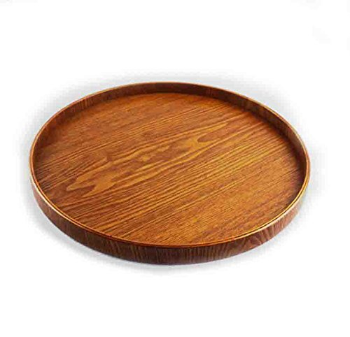 Super KD Wooden Serving Tray Decorative Round Tray Serve for Food Coffee or Tea (Medium, (Medium Round Platter)