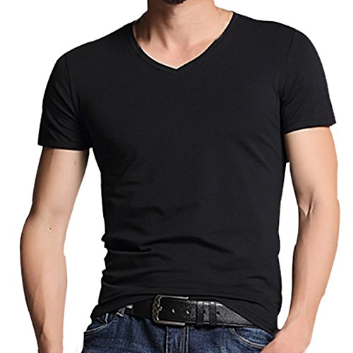 PrettyChic Men's Short Sleeve T-Shirt V-Neck/Crewneck Muscle Fit Stretch Cotton Tees, Black, Tag Size XXL=US Size M Stretch Muscle T-shirt