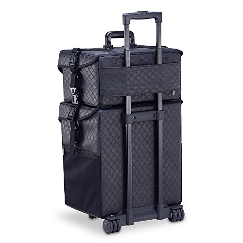 MUA LIMITED 2 in 1 Pro Makeup Artist Case on Wheels, Multifunction Cosmetic Organizer with Removable Drawers, Beauty Trolley, Soft Case with PREMIUM Buckles, ULTIMATE Series - Black Diamond by MUA Limited (Image #2)