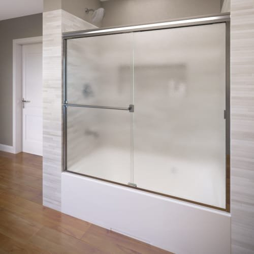 Basco Classic Semi-Frameless Sliding Tub Door, Fits 52-56 inch opening, Obscure Glass, Silver Finish