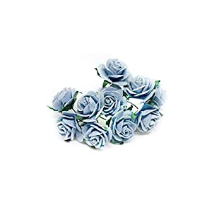 "1"" Blue Mulberry Paper Roses, Mulberry Paper Flowers, Miniature Flowers, Wedding Flowers, Blue Wedding, Baby Shower Flowers, Artificial Flowers, 20 Pieces 14"