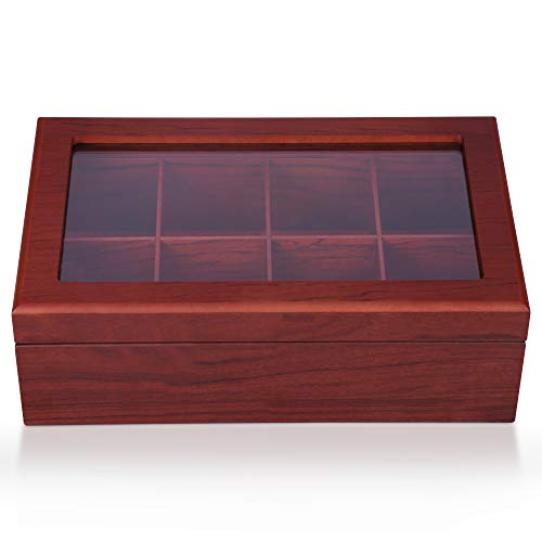 Rosewood Jewelry Chest - Apace Living Tea Box - Luxury Wooden Tea Storage Chest - 6 Adjustable Compartment Tea Bags Organizer Container - Elegantly Handmade w/Scratch Resistant Window (Rosewood, 8 Compartment)