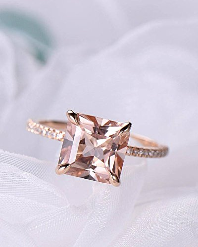 Morganite Engagement Ring Princess Cut Rose Gold 925 Sterling Silver CZ Thin Band Solitaire Ring Eternity by Milejewel Morganite Engagement Ring (Image #1)
