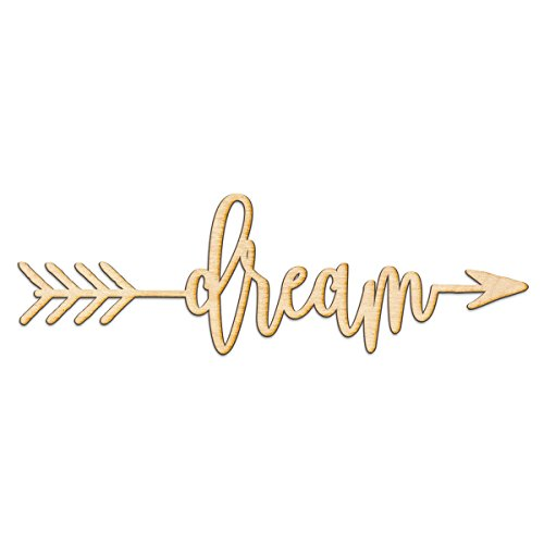Dream Right Arrow Wood Sign Home Decor Wall Art Hanging Rustic Unfinished 12