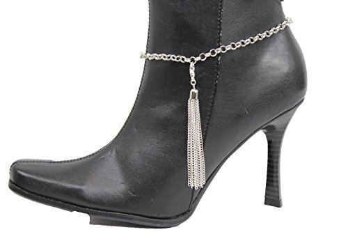 TFJ Women Western Boot Chains Metal Bling Bracelet Big Flower Sun Anklet 2 Mini Hearts Charm Silver - Kelly Kelly Halloween Costumes Cm Punk