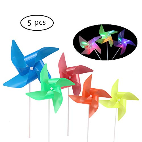 ASWCOWY Pinwheels for Garden Colourful LED Light Windmills Whirl Pinwheels Wind Spinner Whirligig Bright Blended Rainbow Design Mylar Material LED Light Outdoor Toy (5 pcs) -