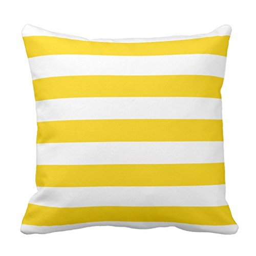 Yellow Striped Pillow - Sunshine Yellow Nautical Stripes Outdoor Throw Pillow Cover Decorative Square Canvas Couch Cushion Cover Case with Zipper 16 x 16