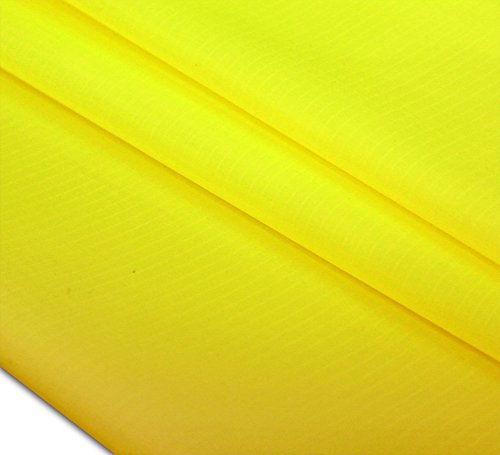"HENGDA KITE 60""x36""(1 Yard) Upgrades 40D Ripstop Nylon Fabric By The Yard Pre-cut Waterproof Outdoor-Yellow"