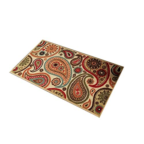 Doormat 18x30 Ivory Paisley Kitchen Rugs and mats | Rubber Backed Non Skid Rug Living Room Bathroom Nursery Home Decor Under Door Entryway Floor Carpet Non Slip Washable | Made in Europe ()