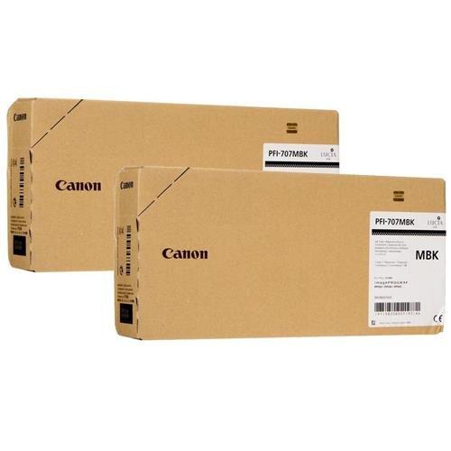 Canon 2x 700ml PFI-707 Pigment Matte Black Ink Tank for iPF830, iPF840, iPF850 CAD Plotters