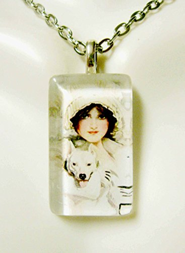 (American Beauty with a white pit bull glass pendant and chain - DGP09-045)