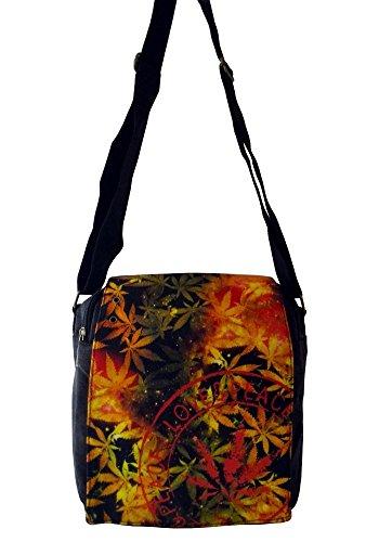 Robin Ruth Canvas kleine Umhängetasche in schwarz/orange (Maße: LxHxT 23x23x8 cm)
