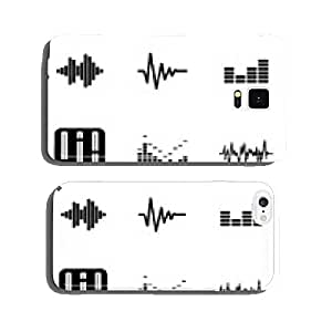 Vector black music soundwave icons set cell phone cover case iPhone6 Plus