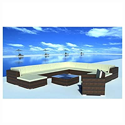 K&A Company Outdoor Furniture Set, 12 Piece Garden Lounge Set with Cushions Poly Rattan Brown
