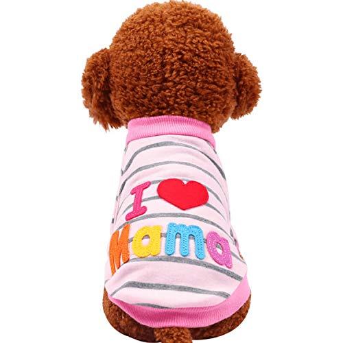 Fanatical-Night Fashion I Love papa and Mama Winter Pet Dog Clothes Clothing for Pet Dog Coats Jackets,I Love Mama Shirts,XXS