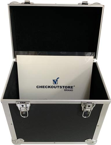 CheckOutStore Black Aluminum 12'' LP Vinyl Record Storage Box (Holds 50 Records) by CheckOutStore