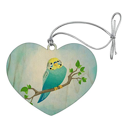 (GRAPHICS & MORE Pretty Parakeet Budgie Heart Love Wood Christmas Tree Holiday Ornament)