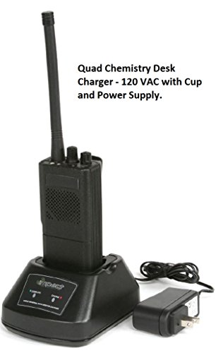 Impact Quad Chemistry Single Bay 120 Volt AC Desktop Radio Battery Charger Fits: EF Johnson 5100 series Portable Radio. Replaces EFJ-3 Cup. Supports latest Li-Ion battery models and all other chemistries. 5100ES series / 51 Fire ES / 51LT ES / 51Sl ES series / ASCEND ES series / AN/PRC-127EFJ
