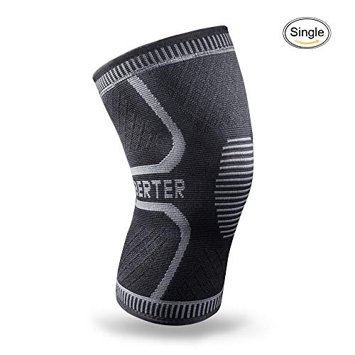 BERTER Knee Brace for Men Women – Compression Sleeve Non-Slip for Running, Hiking, Soccer, Basketball for Meniscus Tear Arthritis ACL Single Wrap (Black_Single, Large)