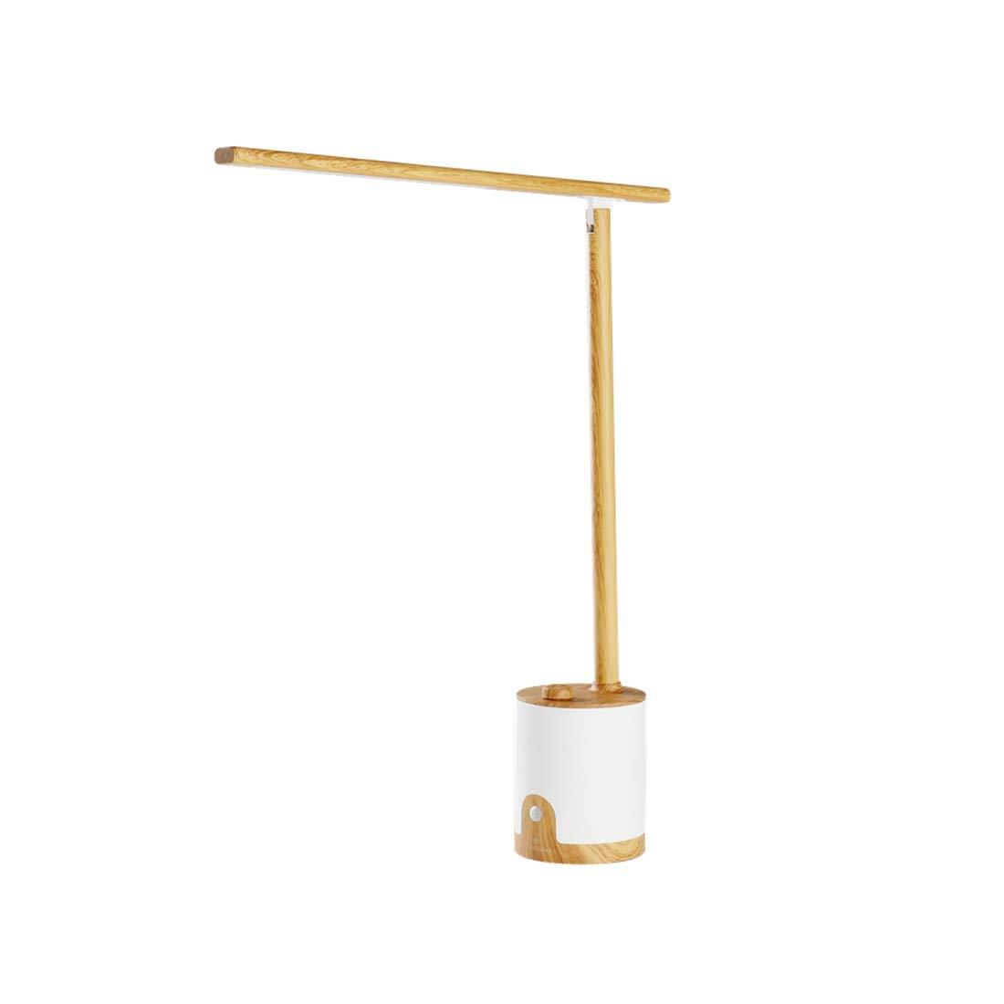 FELICIKK Aluminiumlegierung Dimmable LED Schreibtischlampe mit USB-Ladeanschluss, Infrarot-Induktion Tischlampe für Bürobeleuchtung, Holzmaserung Schwarz (Farbe   Wood Grain)