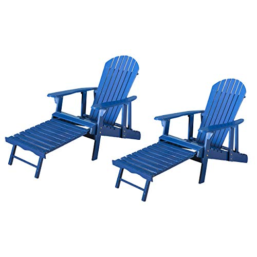 GDF Studio Halley Outdoor Reclining Wood Adirondack Chair with Footrest (2, Navy Blue) ()