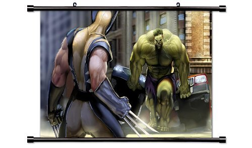 Wall Scrolls X-Men Wolverine vs Incredible Hulk Comic Fabric Poster (32x18) Inches (Justice League Fabric Poster)