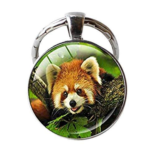 (Red Panda Bear Keychain Jewelry, Vintage Keychain Glass Animal Keychain)