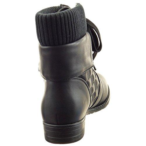 Sopily - damen Mode Schuhe Stiefeletten Combat Boots Reißverschluss gesteppt schuhe - Schwarz