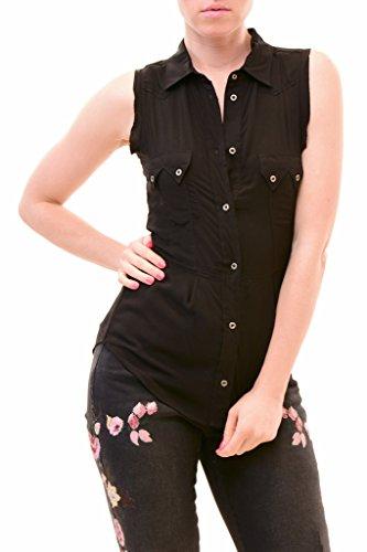 - Diesel Women's NBW C-Giustiness-B Sleeveless Shirts Black Size S
