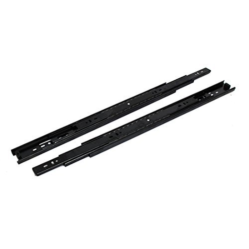 DealMux 18-inch 3 Sections Side Mount Full Extension Ball Bearing Drawer Slides Black 2pcs