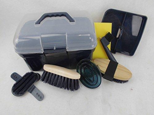 Kinder Pferdeputzkiste Pferdeputzkasten Putzkiste Putzbox gefüllt mit Putzzeug, Farbe:dunkelblau