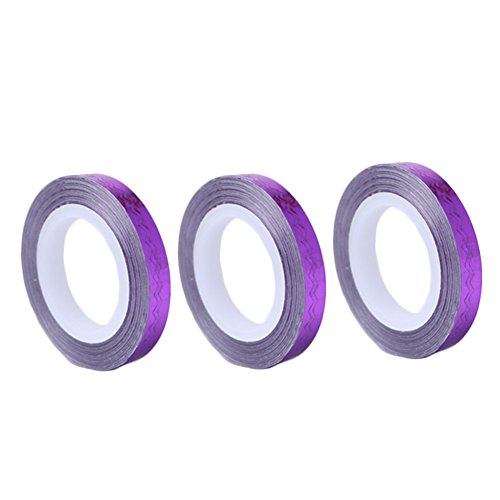 12 Rolls 6mm DIY Striping Tape Line Nail Art Decoration Sticker Silver Purple by Kylin Express