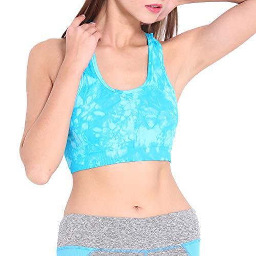 BBesty Save 15% Women's Tie-Dyed Printed Sports Vest Bra Underwear Padded Seamless Gym Yoga Fitness Workout Bra Vest Green -