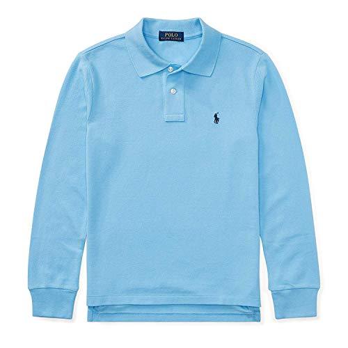 ys Long-Sleeve Pony Logo Mesh Polo Shirt (Blue, 5) ()