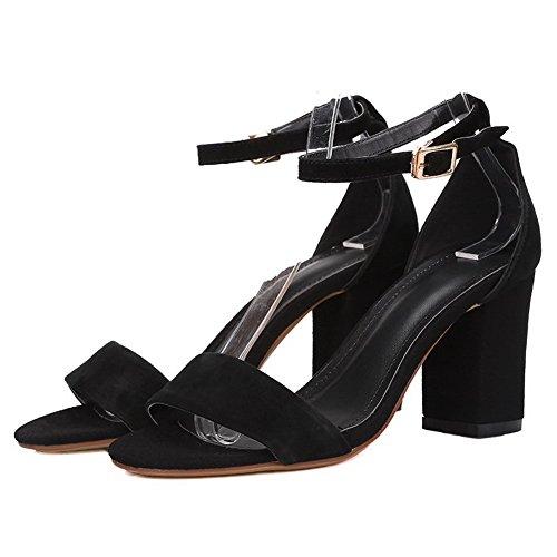 Amoonyfashion Hebilla Para Mujer De Tacones Altos Sandalias De Punta Abierta De Cuero Hechas A Mano En Negro