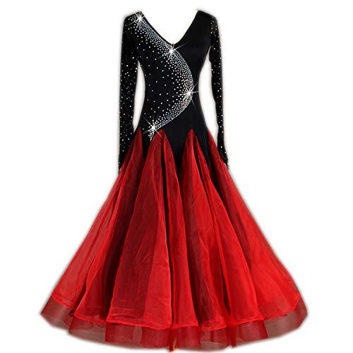 garuda 社交ダンスドレス モダンダンスウェア サイズオーダードレス モダンVネック 黒+赤 B07P4D1525 黒+赤 サイズオーダー