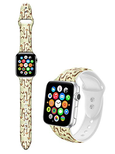 Dseason Sport Bands Compatible with Apple Watch Series 4/3/2/1, Premium Silicone Strap Compatible with iWatch 42mm / 44mm, Cute Cartoon Deer