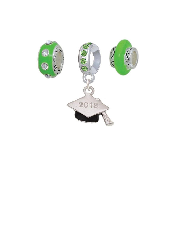 3-D Graduation Hat Lime Green Charm Beads (Set of 3)