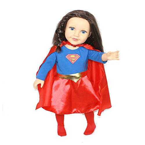 Arianna Fits American Girl 18 inch Doll - SuperGirl 4PCS Doll Costume - Dress - Cape - Belt - Sock Boot - 18 inch Doll Clothes - Boutique Quality She's Worth it! - Designed In USA - Fits 18 Inch Dolls