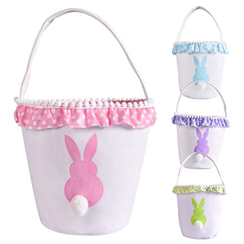 Easter Bunny Basket Eggs Bags with Fluffy Tail Pink Canvas Cotton Rabbit Personalized Handbag Toys Bucket Tote Bag Storage Gifts Candies for Kids Girls with Handles (Pink) ()