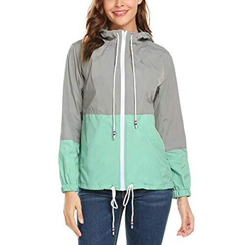 Automne Manteau Capuche avec Femmes Blouses Mince zahuihuiM De Longues Tops Manches Mode Sport Peau Poche Costumes Patchwork Casual Vert Zipper YZtxqwI